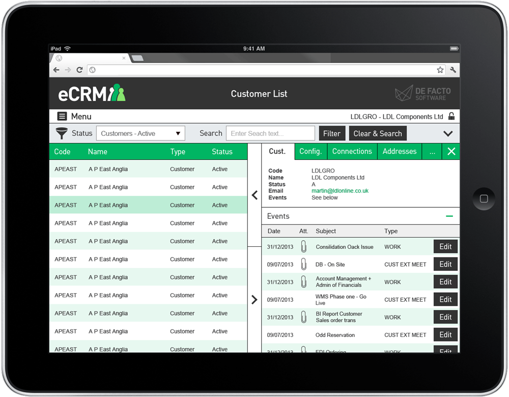 eCRM software customer list screenshot