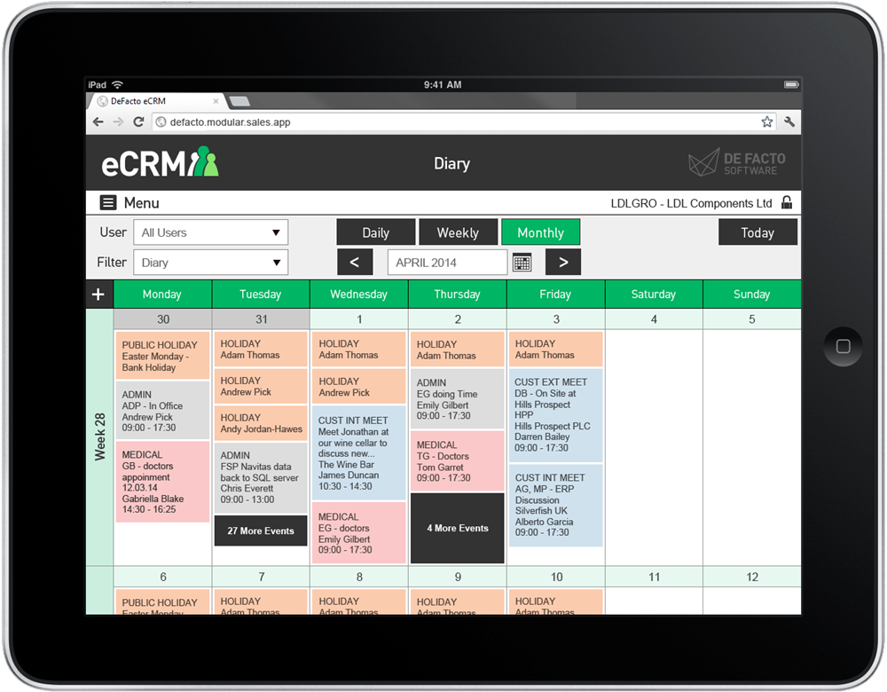 eCRM software calendar interface