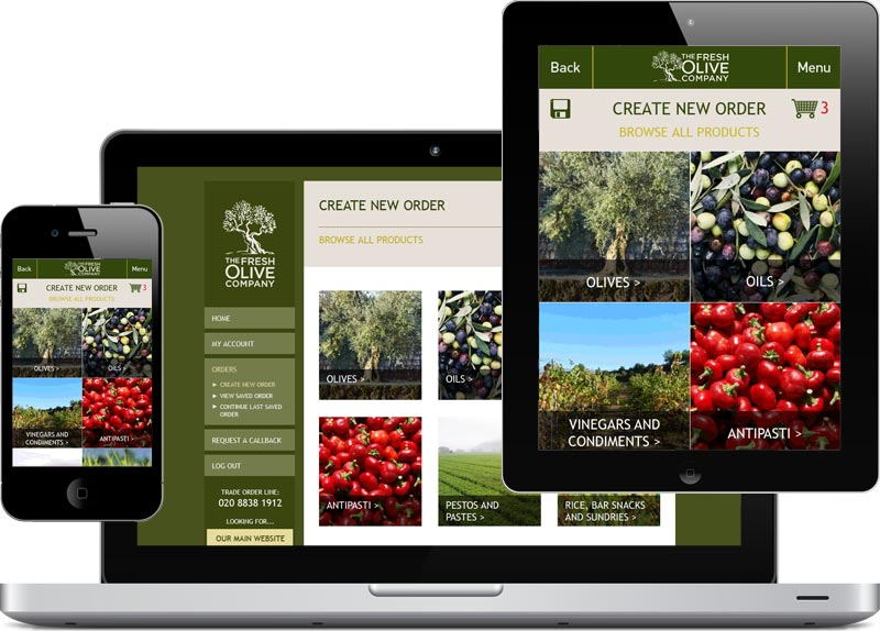 Responsive web design for Fresh Olive