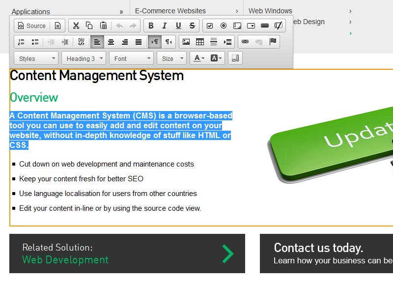 CMS - Content Management System Inline editor